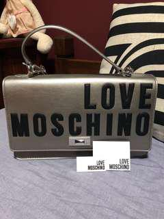 New Moschino silver handbag