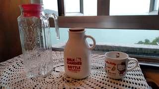 Hello kitty1998年 玻璃水壺,1996年牛奶瓶,1991年小瓷杯