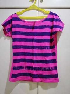Pink ang purple striped top