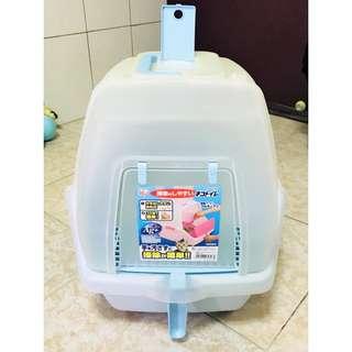 #近全新#IRIS單層貓砂盆 SSN-530- 粉藍 (附除臭香片,已用酒精消毒