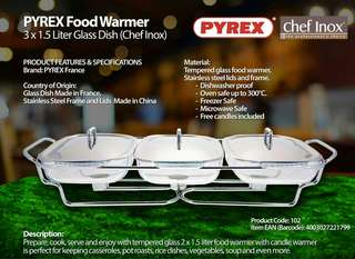 PYREX FOOD WARMER 3x1.5L GLASS DISH