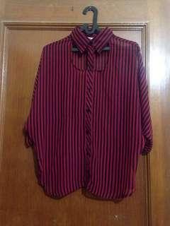 Blouse stripe red & black