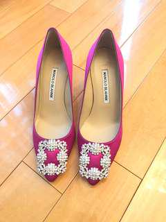 Manolo Blahnik Satin Hangisi Pumps 70