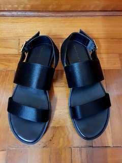 Charles & Keith Black Strap Sandals in EU 37