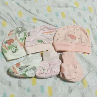 9pcs cap and booties set 0-3 months never used