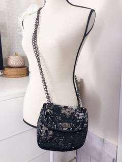 Mango glam sequin bag • black (with slightly blue tint when it hits the light) ans silver sequins • gun metal details
