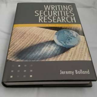 Writing Securities Research Book Hard Cover
