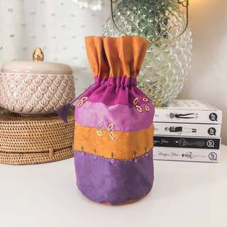 Beautiful sunset formal drawstring bag • pink, purple, orange, little rosegold sequins • makeup pouch