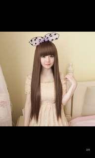 女用長直淺棕色假髮