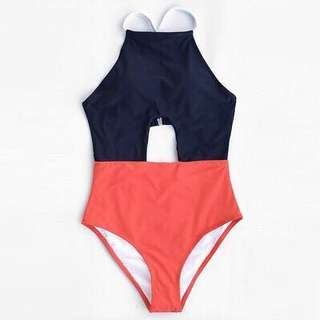 Two tone one piece swimsuit