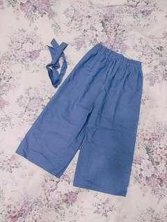 🚚 牛仔寬褲 藍色寬褲 復古 日系