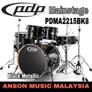 PDP by DW Mainstage 5-Piece Drum Set (PDMA2215BK8), Black Metallic