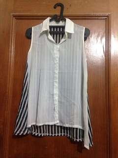 Blouse stripe black & white