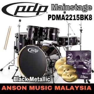 PDP by DW Mainstage 5-Piece Drum Set (PDMA2215BK8) Package, Black Metallic
