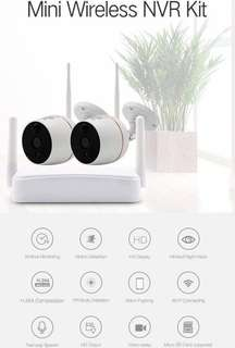 Mini Wireless Plug & Play CCTV IP Camera 2CH NVR Recorder Kit Set - (Full-HD 1080P, Two-Way Audio, PIR Body Detection, Motion-Detection, Alarm Pushing Message, Infrared Night Vision, Ultra Wide-Angle)