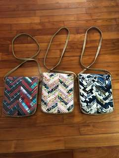 Three patchwork sling bags