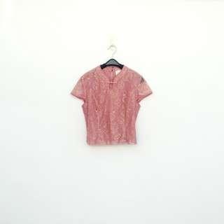 🚚 二手 粉色 微金蔥 中國風 短版 薄紗蕾絲 上衣 明太子 715
