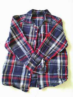 Long-sleeves checked blue shirt for 10-12 years old