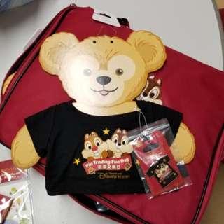 上海迪士尼徽章交換日Chip n dale LE600 徽章 + Duffy 衫仔 Disney pin
