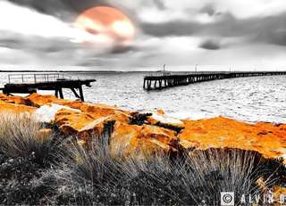 Digital Photograph - Broken Wooden Jetty over Sunset