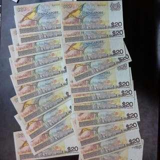 21 Singapore $20 Bird Notes $22.40 Each