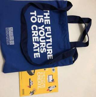 SUTD bag and notebook