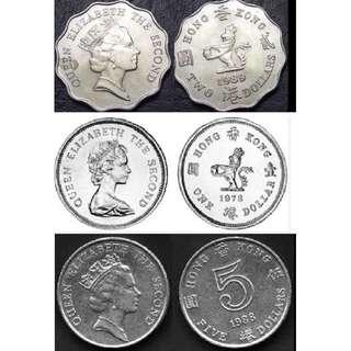 英女皇頭像硬幣套裝(1、2、5元) (每套$30) (散買可PM問價)