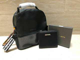 Charles&keith backpack+dompet mini walet hologram