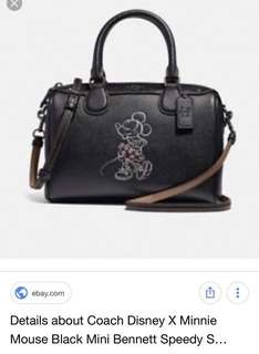 Coach x Disney Minnie black mini Bennett speedy