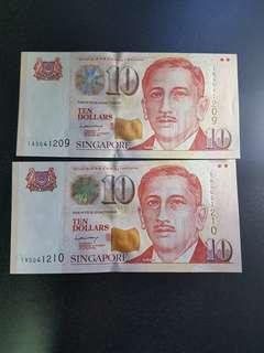 Singapore $10 dollars 2 running number LHL