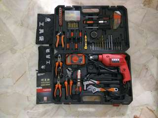Toolbox with hand drill