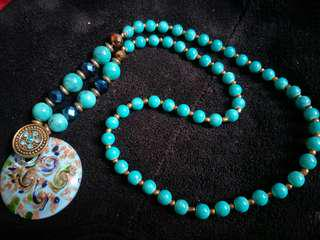 Teal coldstone necklace