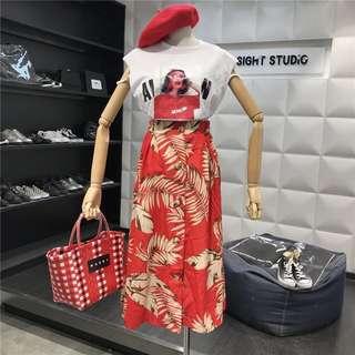 Summer Embroidery Set Wear High Waist Maxi Dress
