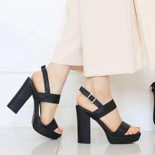 黑色 高跟 涼鞋 high heels black sandals
