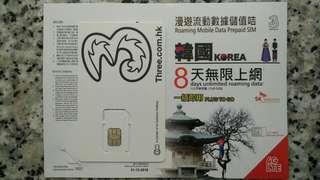 韓國 8天 數據卡 4G 5GB + 128kbps無限數據 上網卡 SIM Card