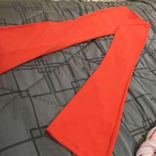 Fashions nova coral/orange wide leg pants and top