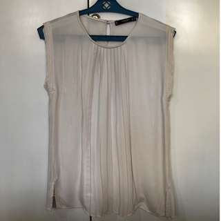 Cream Blouse with Pleats