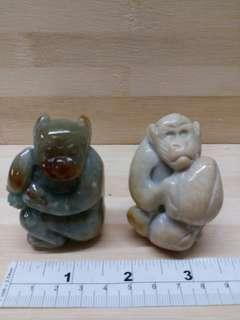 一對 緬甸a玉 兩吋半 猴子獻壽桃, 單件價錢另議