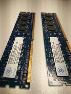 DDR3 PC3-10600U 2G Ram x 2