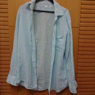 🚚 Uniqlo 藍白條紋亞麻長袖襯衫m號