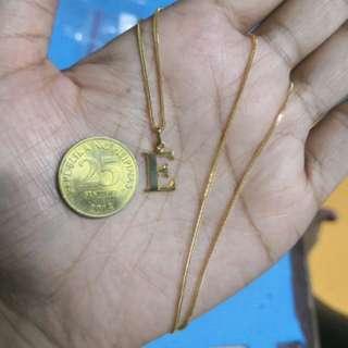 """18k Japan Gold Necklace """"E"""" Pendant"""