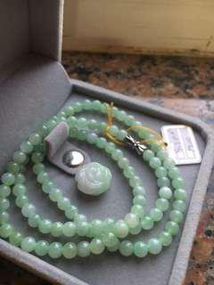 緬甸玉果綠珠鍊送玫瑰