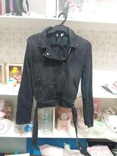 H&M Black Faded Denim Jacket