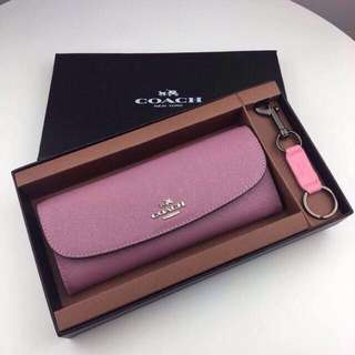 Authentic  SOFT WALLET IN GLITTER CROSSGRAIN LEATHER (COACH F11835)