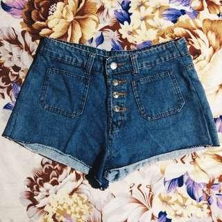 high waisted maong shorts