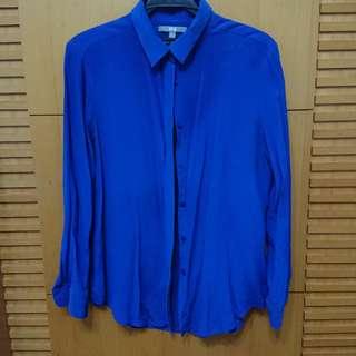 🚚 Uniqlo 寶藍色蠶絲長袖襯衫 L號