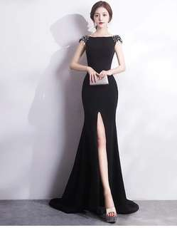 Elegant Black Mermaid Slit Evening Dress/ Long Dinner Dress/ Maxi Dress/ Prom Dress (Rent)