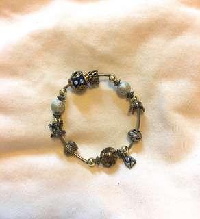 🚚 復古藍色珠珠寶石手環手鍊