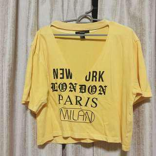 🚚 Forever 21 Cropped Yellow V Top