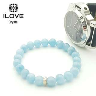 🚚 ILOVE signature Authentic 925 Silver OM Aquamarine Crystal Bracelet #IN-STOCK